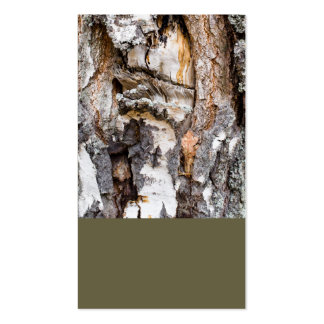 Weathered birch trunk business card template