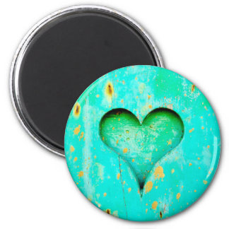 Weathered Blue Peeling Paint Wood Heart Symbol 2 Inch Round Magnet