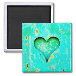 Weathered Blue Peeling Paint Wood Heart Symbol 2 Inch Square Magnet