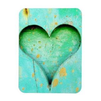 Weathered Blue Peeling Paint Wood Heart Symbol Rectangular Photo Magnet