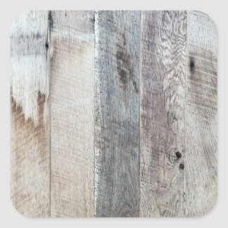 Weathered Boards Wood Plank Background Texture Square Sticker