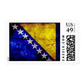 Weathered Bosnia Flag Postage Stamp
