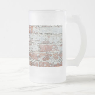 Weathered Brick Wall Frosted Glass Beer Mug