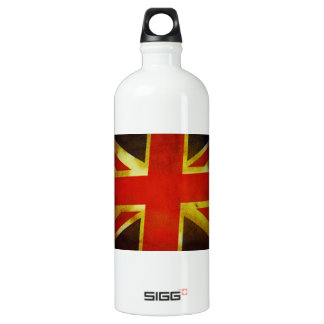 Weathered British Flag Aluminum Water Bottle