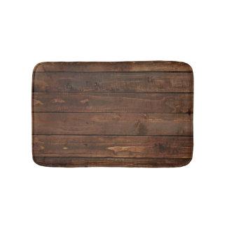 Weathered Brown Wood Wall Texture Bath Mat