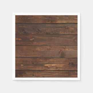 Weathered Brown Wood Wall Texture Paper Napkin