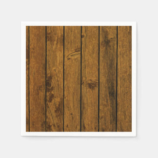Weathered brown wood wall texture standard cocktail napkin