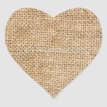 Weathered Burlap Heart Sticker