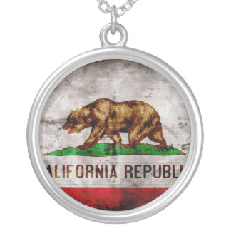 Weathered California Flag Silver Plated Necklace
