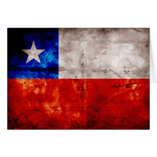 Weathered Chile Flag Card