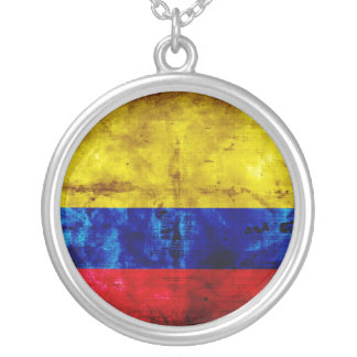 Weathered Colombia Flag Silver Plated Necklace