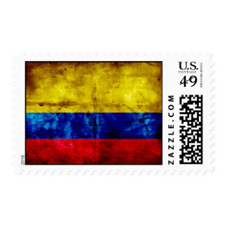 Weathered Colombia Flag Stamp