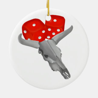 Weathered Cows Skull With Gambling Craps Dice Ceramic Ornament