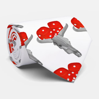 Weathered Cows Skull With Gambling Craps Dice Tie