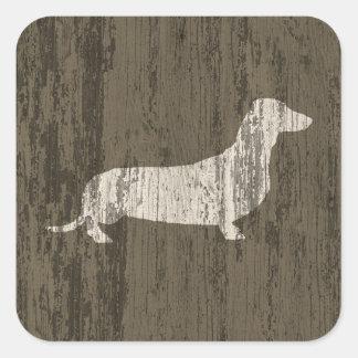 Weathered Dachshund Square Sticker