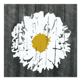 "Weathered  Daisy Barnwood- Together With Parents 5.25"" Square Invitation Card"