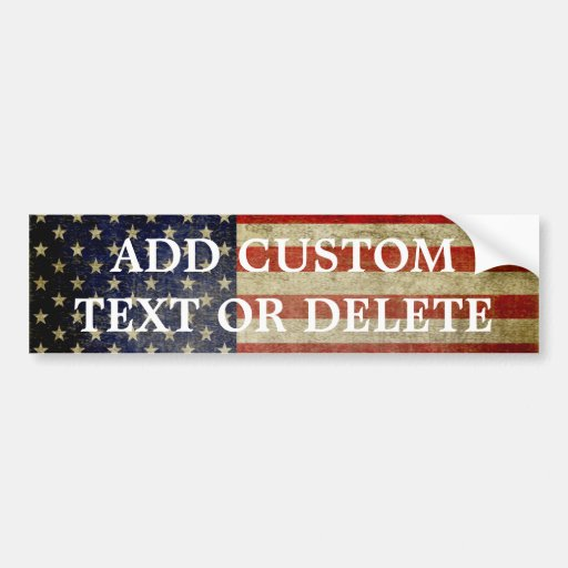 Weathered, distressed American Flag Car Bumper Sticker