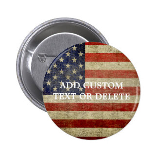 Weathered, distressed American Flag 2 Inch Round Button
