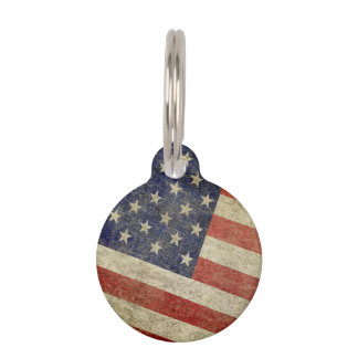 Weathered, distressed American Flag Pet Name Tags