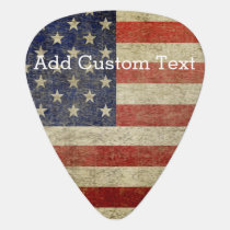 Weathered, distressed American Flag Guitar Pick