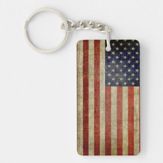 Weathered, distressed American Flag Keychain