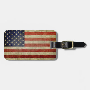 Weathered, Distressed American Flag Luggage Tag at Zazzle