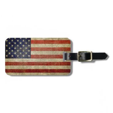 My2Cents Weathered, distressed American Flag Luggage Tag