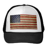 Weathered, distressed American Flag Mesh Hat