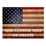 Weathered, distressed American Flag Post Card