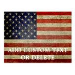 Weathered, distressed American Flag Postcard