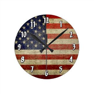 Weathered, distressed American Flag Round Wallclocks