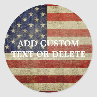 Weathered, distressed American Flag Round Stickers
