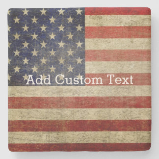 Weathered, distressed American Flag Stone Coaster