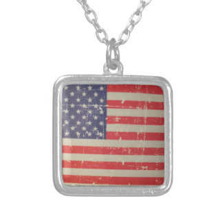 Weathered, Distressed American USA Flag Silver Plated Necklace