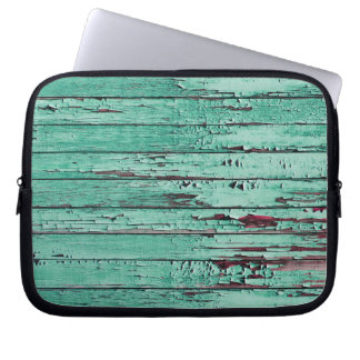 Weathered Distressed Wood | aqua Laptop Sleeve