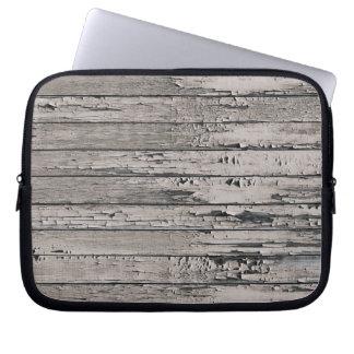 Weathered Distressed Wood | ash grey Laptop Sleeves