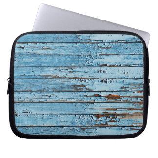 Weathered Distressed Wood | blue Laptop Sleeve