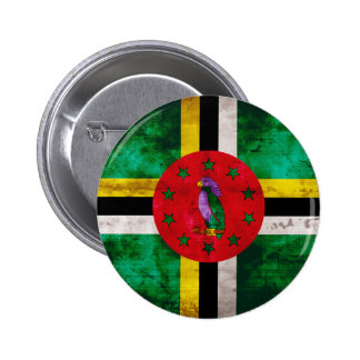 Weathered Dominica Flag Pinback Button