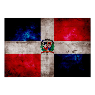 Weathered Dominican Republic Flag Poster