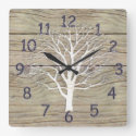 Weathered Driftwood with Tree Artwork Square Wall Clock
