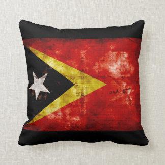 Weathered East Timor Flag Throw Pillow