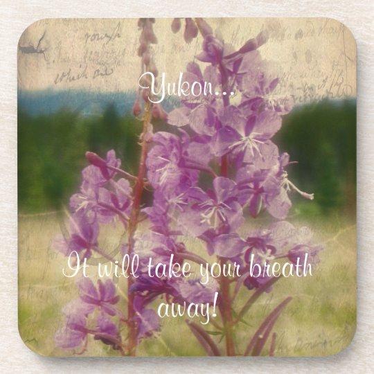 Weathered Fireweed; Yukon Territory Souvenir Beverage Coaster
