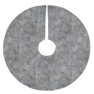 Weathered Grey Cement Sidewalk Brushed Polyester Tree Skirt