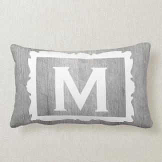 Weathered Grey Wood Rustic Framed Monogram Lumbar Pillow