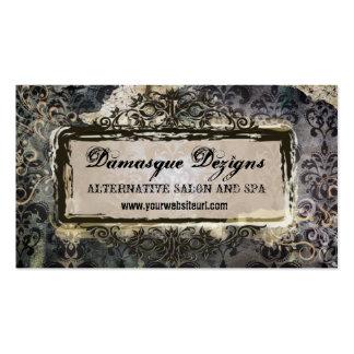 Weathered Grunge Damask Business Card Templates