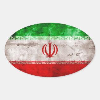 Weathered Iran Flag Oval Sticker