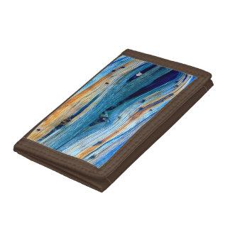 weathered juniper board tri-fold wallet