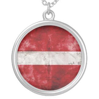 Weathered Latvia Flag Pendant