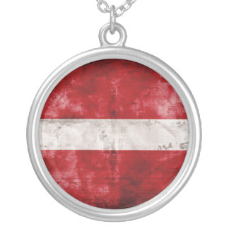 Weathered Latvia Flag Silver Plated Necklace