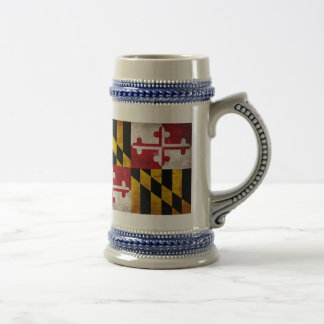 Weathered Maryland Flag 18 Oz Beer Stein
